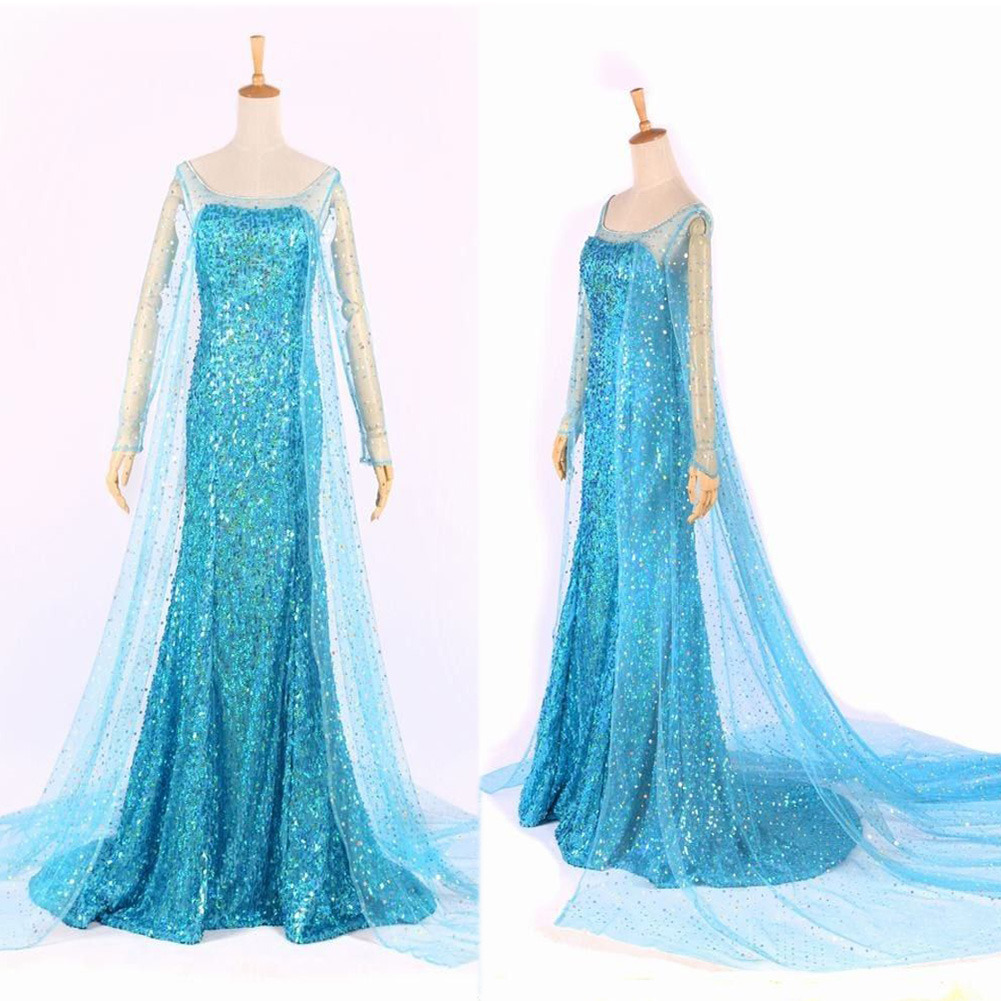 New Fashion Blue Bling Snow Queen Adult Women Lady porm Party Dress ...