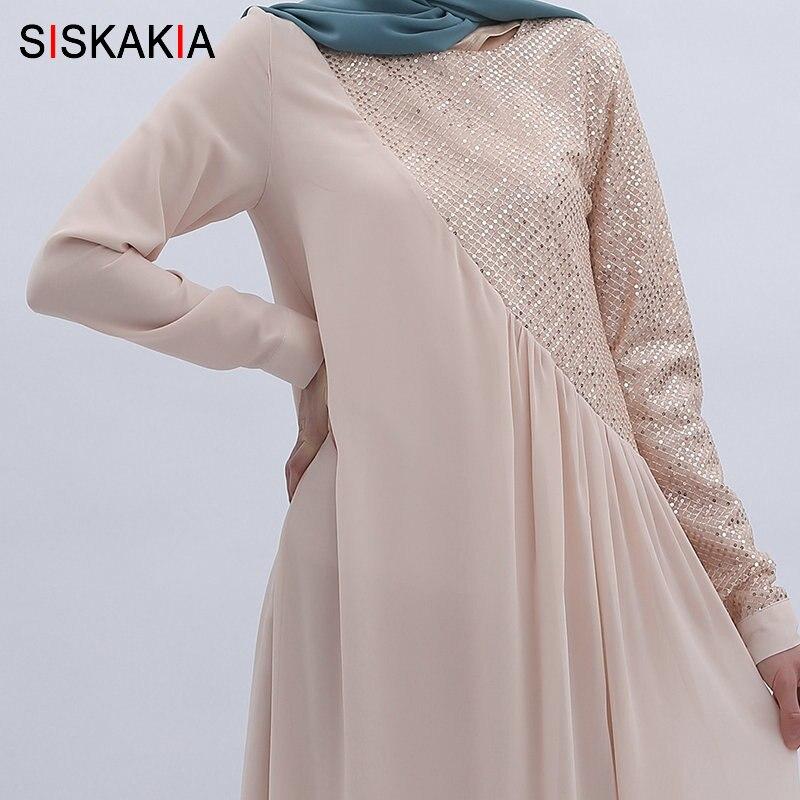 Siskakia haute qualité en mousseline de soie longue robe de mode paillettes Patchwork Maxi robes musulmanes femmes Jubah solide été 2019 - 4