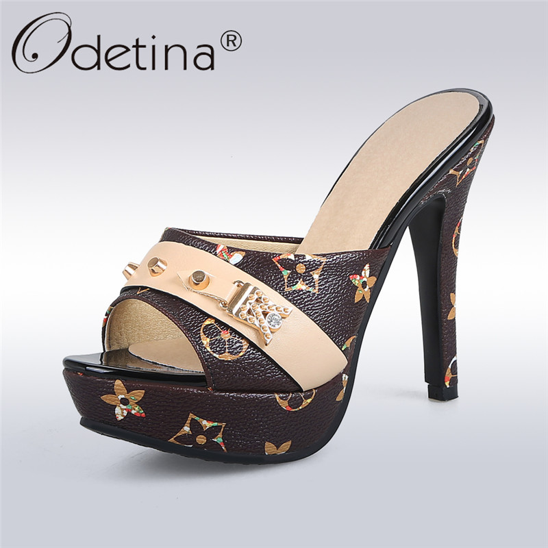 Odetina 2018 New Fashion Women Platform Mules Pumps Extreme High Heels Party Sexy Shoes Peep Toe ladies Footwear big Size 33-43 2018 fashion women round toe height platform extreme high heels shoes 16cm snake sexy pumps nightclub evening party
