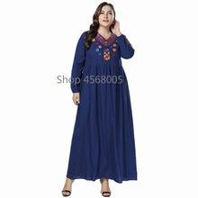 e39314b42e3 Dubaï Abayas pour les femmes broderie à manches longues col en V bleu foncé Maxi  Robe musulmane arabe vêtements islamiques dames.