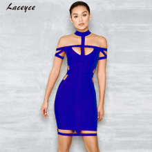 Laceyce 2017 New Summer Women Bandage Dress Royal blue Sexy Hollow Out Bodycon Vestidos Celebrity Evening Party Dresses