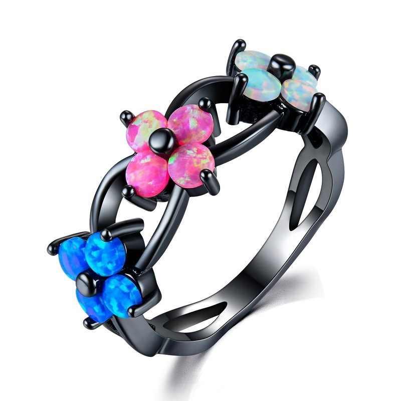 Модный Шарм многоцветный камень цветок из циркона огненный опал кольца для женщин Винтажная Мода Черное золото заполненные кольца с камнем рождения