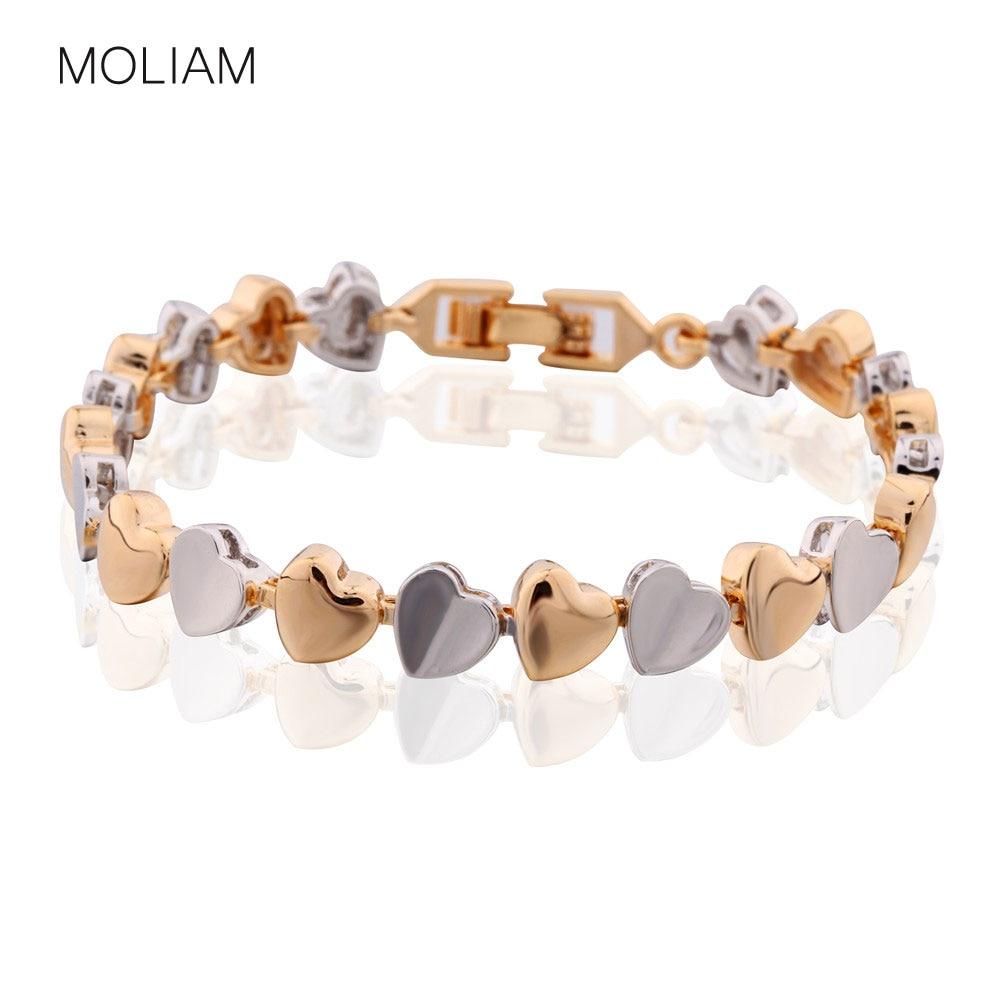MOLIAM Famosa marca Pulseras de corazón Mujer Plata / Oro-Color Cadena Brazalete de mano Mejores amigos Regalo de joyería MLL173