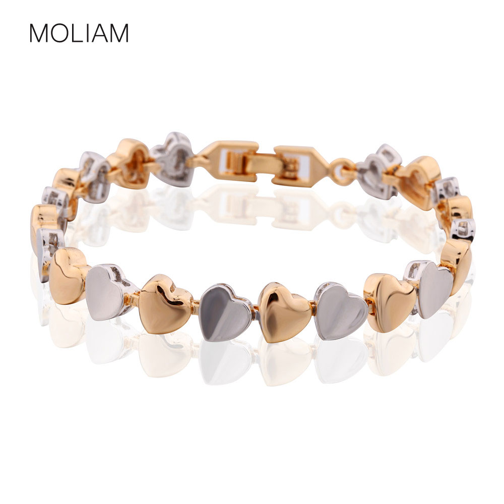 MOLIAM Beroemde merk hart armbanden vrouwen zilver / goud-kleur ketting hand Bangle beste vrienden sieraden cadeau MLL173