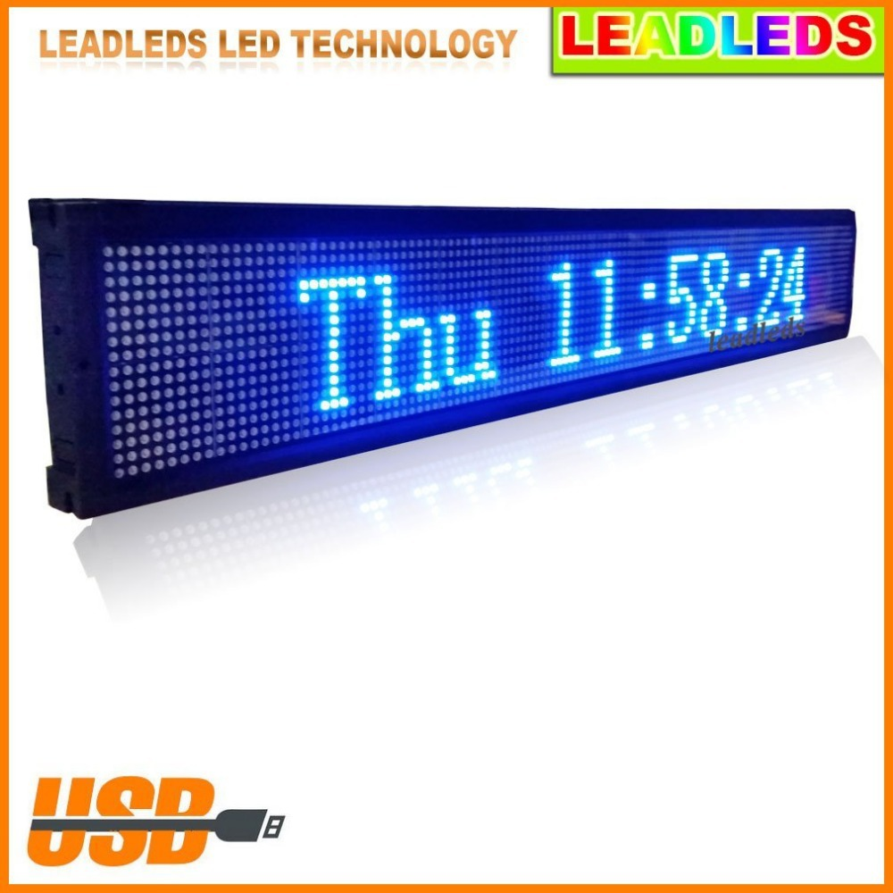 40 X 6.3 Inch Indoor USB Programmable Blue Led Sign Scrolling Message For Business Or Store