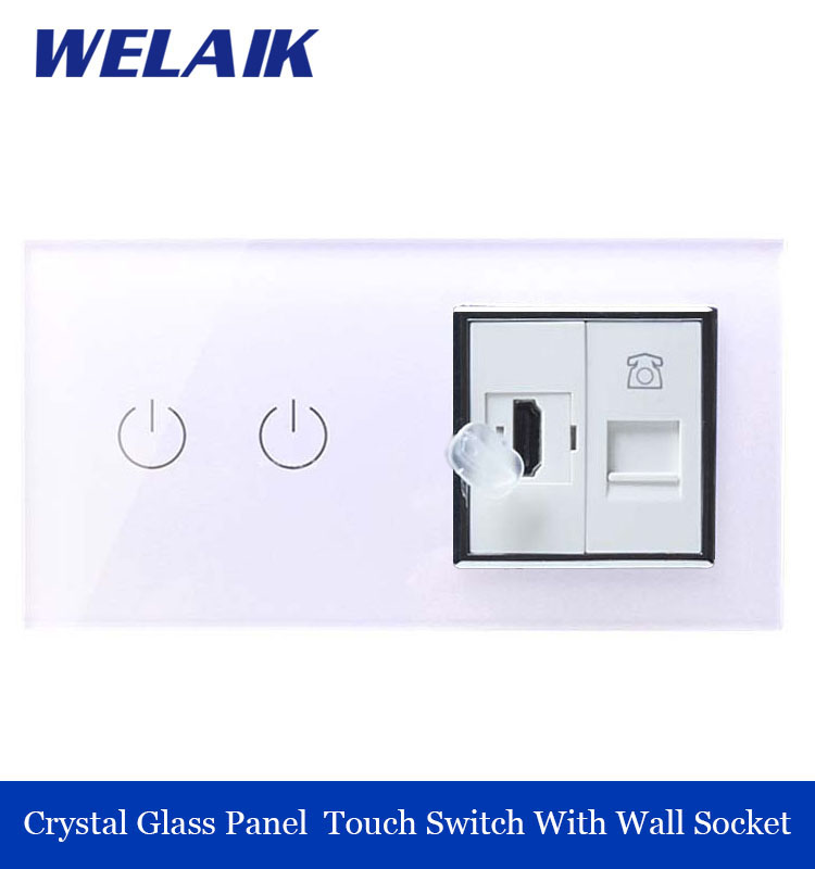 ФОТО WELAIK Luxury Touch Screen Control Tempered crystal Glass Panel Wall Light Home touch Switch Wall  HDMI  Socket A29218HTW/B