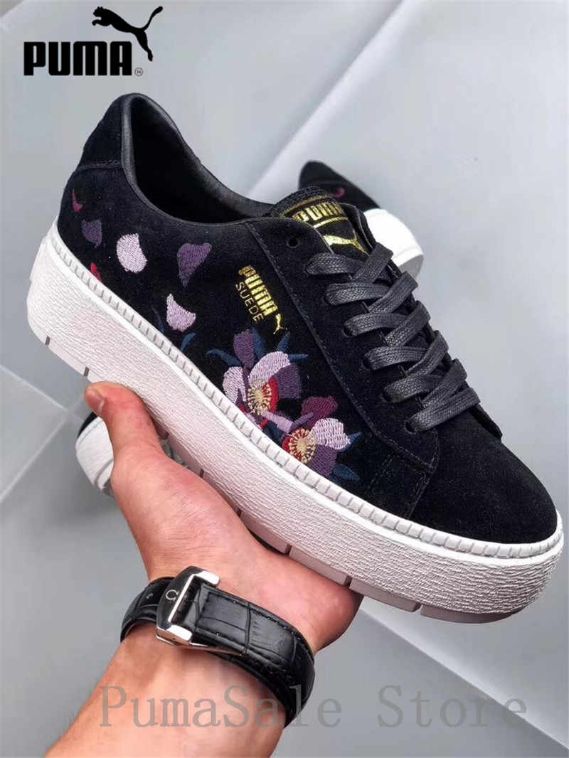 4d6405dc71a Detail Feedback Questions about Pumas Suede Platform Trace Flowery Animal  Women Sneakers 367810 01 02 New Arrival Embroidery Shoes Black White  Badminton ...