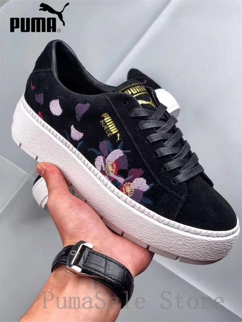 Pumas Suede Platform Trace Flowery Animal Women Sneakers 367810-01-02 New  Arrival Embroidery Shoes Black White Badminton Shoes 1163cc293