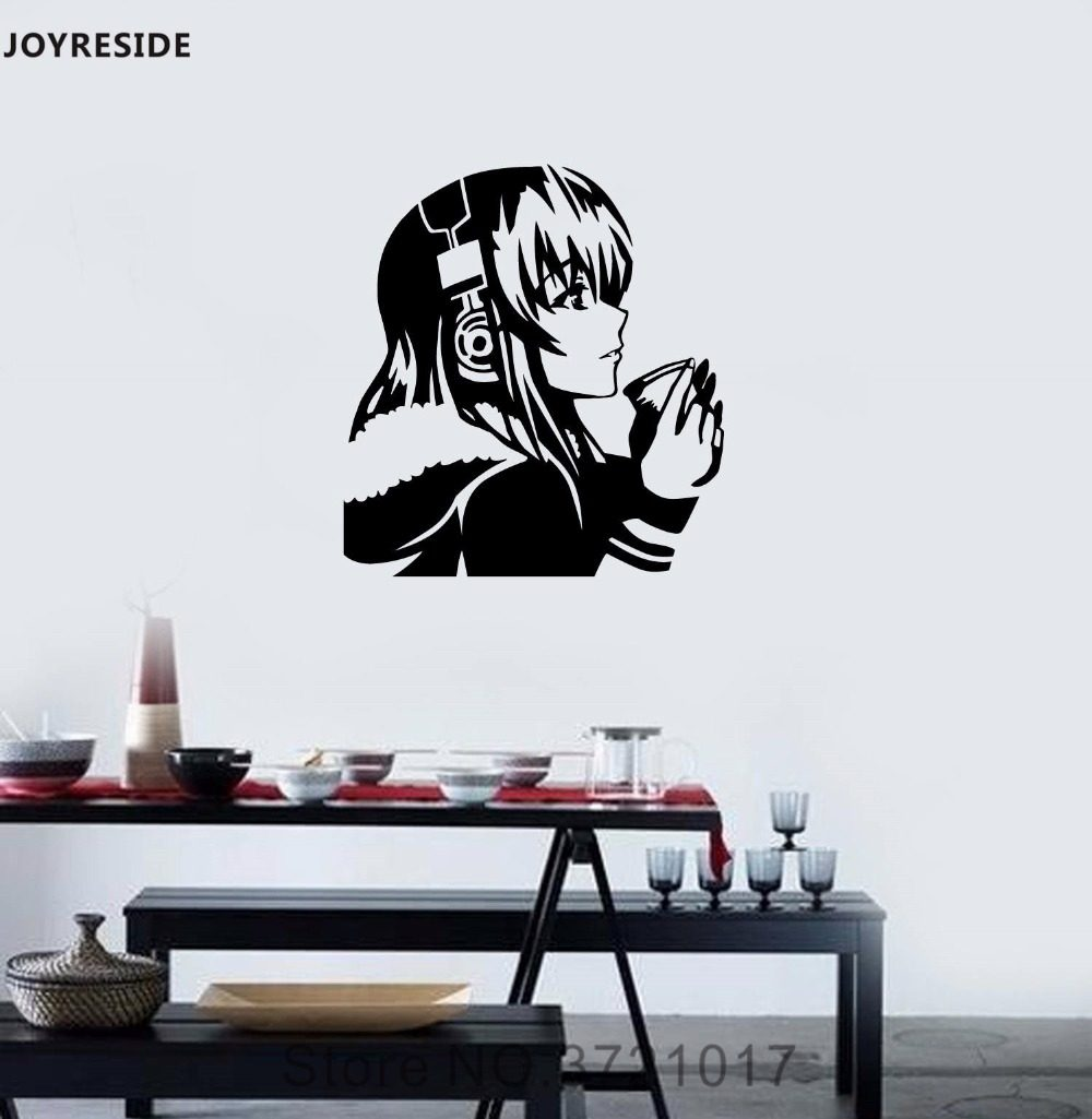 Joyreside anime wall decal vinyl sticker headphones coffee dream girl room decoration removable home design art