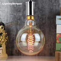 G150 Big size Edison bulb quad loop 220V 40W E27 base pendant light bulb chandelier edison light bulb amber lamp bulb carbon