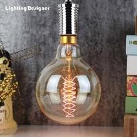 G150 Big size Edison bulb quad loop 220V 40W E27 base pendant light bulb chandelier edison light bulb amber lamp bulb carbon