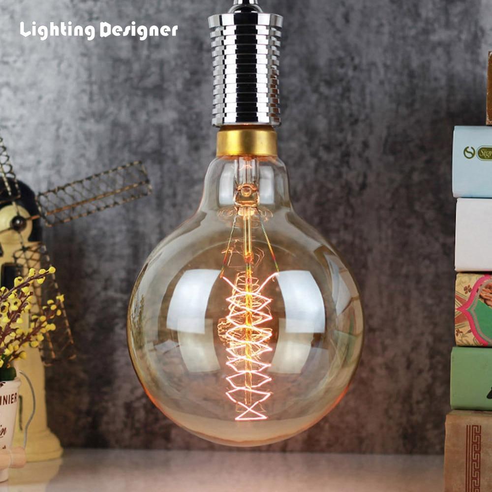 G150 Grande taille Edison ampoule quad boucle 220 v 40 w E27 base pendentif lumière ampoule lustre edison ampoule ambre lampe ampoule carbone