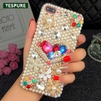 YESPURE Mobiele Cases voor Iphone 7 plus Bling Glitter Parels Mobiele Telefoon Accessoires TPU Crystal Fancy Meisje Mobiel Covers