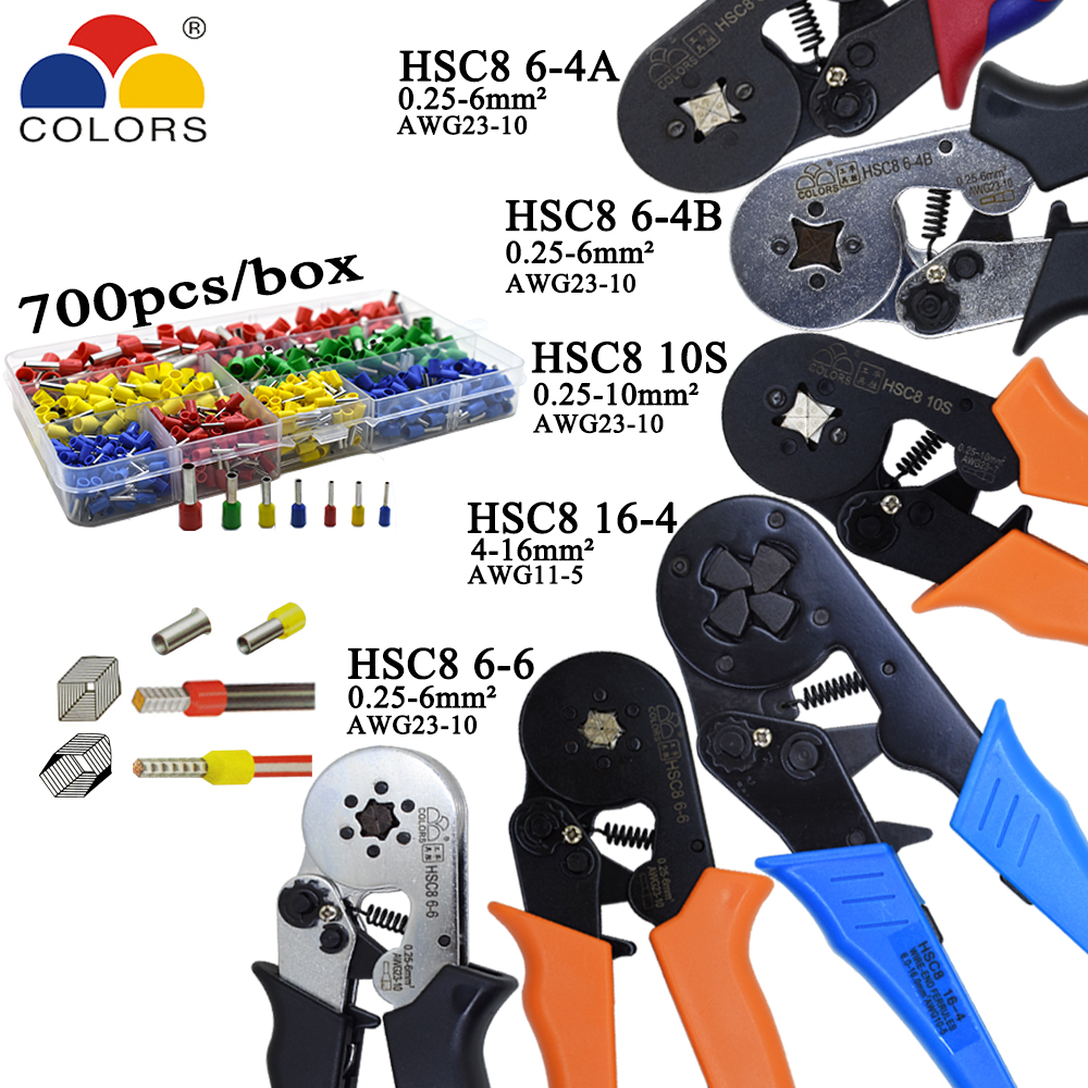 HSC8 10S 0.25-10mm2 23-7AWG HSC8 6-4B/6-6 0.25-6mm2 HSC8 16-4 crimping pliers electric tube terminals box mini brand clamp tools купить в Москве 2019