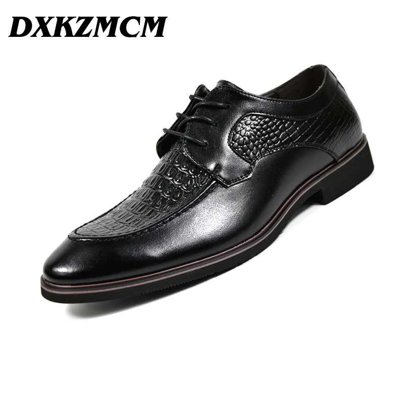 DXKZMCM Men Formal Shoes Italian Stylish Mens Wedding Black Split Leather Party Business Dress Male Oxfords top quality crocodile grain black oxfords mens dress shoes genuine leather business shoes mens formal wedding shoes