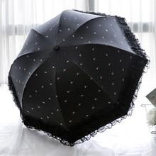Sun-Umbrella Parasol Uv-Protection Black Waterproof Women Sunny Lace Folding Rain Girl