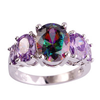 lingmei Wholesale Unisex Mystic Rainbow Topaz Amethyst Silver Ring Size 6 7 8 9 10 11 12 13 Women Men Jewelry Free Shipping