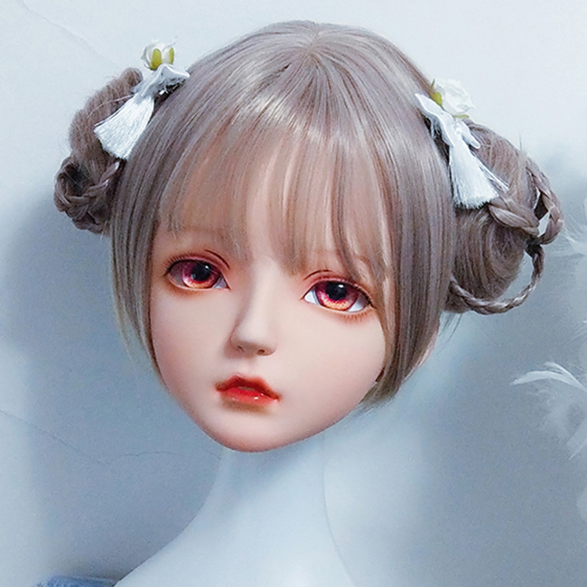 (KM421) alta calidad hecha a mano mujer chica resina media cabeza Cosplay japonés juego de rol BJD Kigurumi máscara muñeca