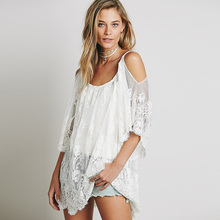 Women Beach Summer Dress Strap Sheer Floral Lace Embroidered