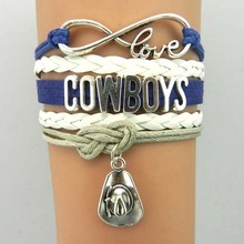 Infinity Love Dallas Cowboys Team Bracelets- Drop Shipping  Football Leather Suede Bracelets Bangle Gift