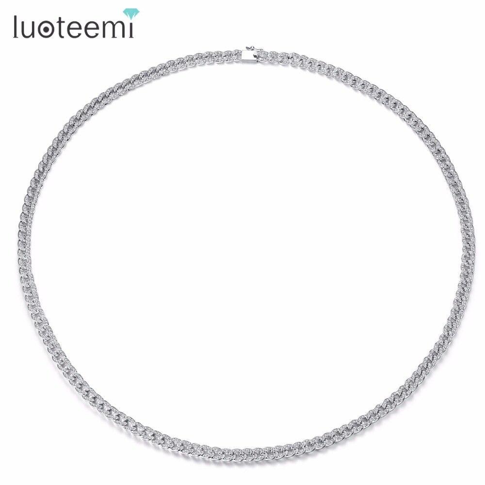 LUOTEEMI Long collier cuivre CZ populaire prévalant à la mode bijoux ornement pour femmes femme fille cadeau fête anniversaire bal