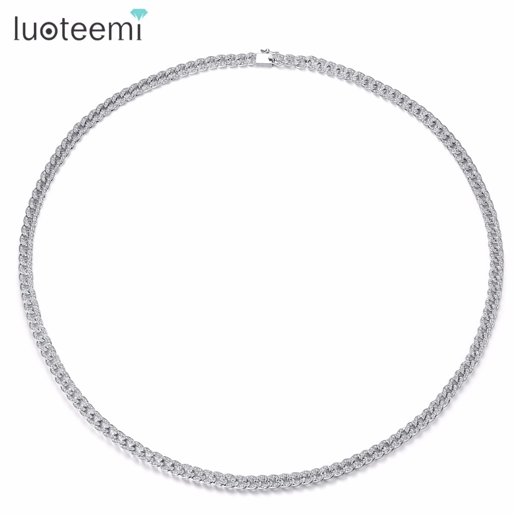 LUOTEEMI Long collier cuivre CZ populaire répandu à la mode bijoux ornement pour femmes femme fille cadeau fête anniversaire bal