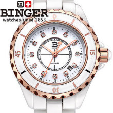 Binger new luxury brand women fashion watches cz diamonds quartz dress ceramic Christmas gift Analog rose gold Wristwatches girl