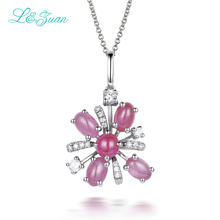 l&zuan 925 sterling silver Natural 3.38ct Ruby Pendant  Red Stone Jewelry With Silver Chain Christmas Gift  Black Friday
