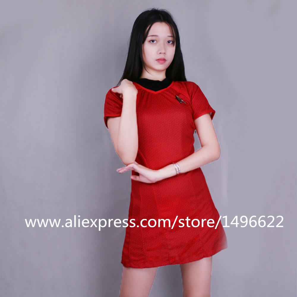 Cosplay Star Trek Into Darkness Star Fleet Uhura Costume Dress Cosplay  Red Halloween Uniform (3)