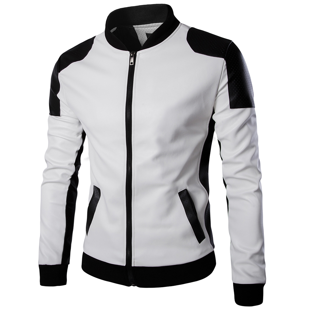Top Quality Fashion Men White Leather Jackets And Coats Pu Match Color  Overcoat M-5XL AYG94