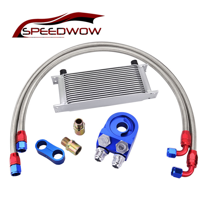 SPEEDWOW 16Row AN10 Engine Transmission Oil Cooler Kit+Oil Adapter Filter+Oil Swivel Fuel Hose line+AN10 Seprator Divider Clamp цена