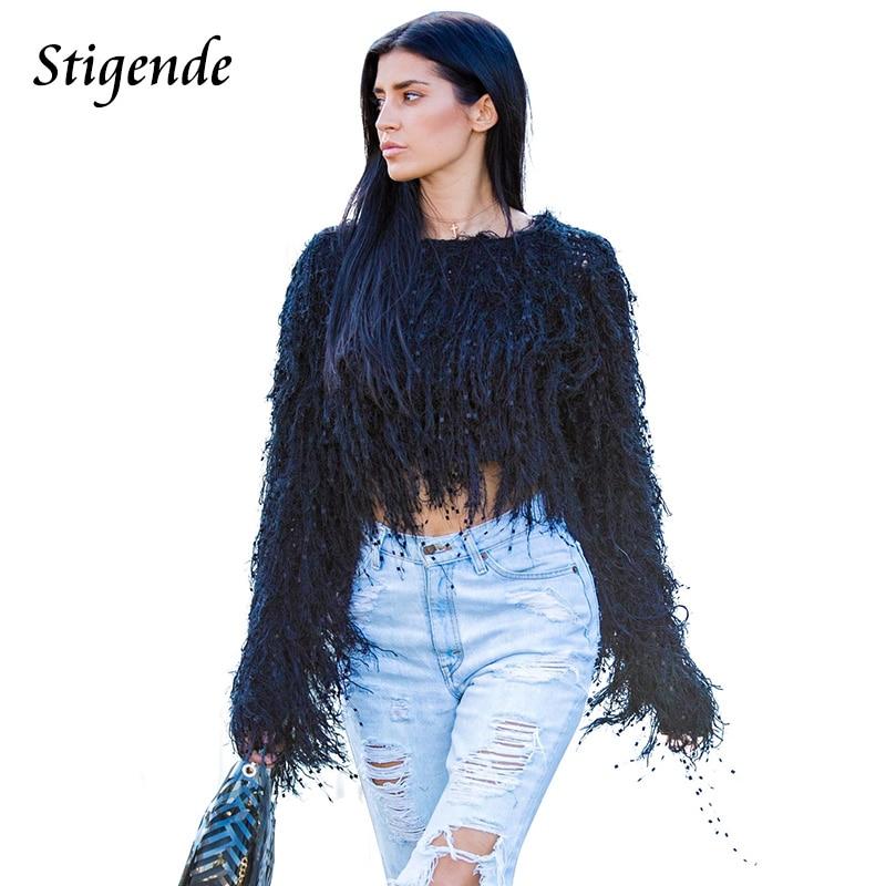 Stigende Tassels Crop Sweater Pullover Autumn Woman Fringe Sweater Knitting Pullovers Elegant Sexy Crochet Jumper Top Clubwear