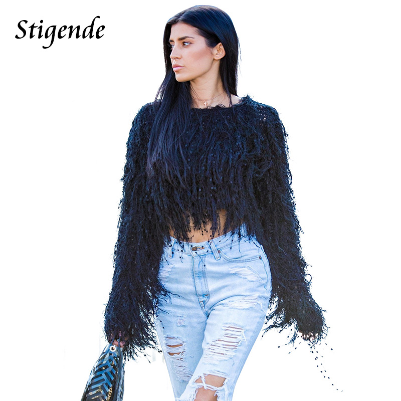 Stigende Tassels <font><b>Crop</b></font> Sweater Pullover Autumn Woman Fringe Sweater Knitting Pullovers Elegant <font><b>Sexy</b></font> <font><b>Crochet</b></font> Jumper <font><b>Top</b></font> Clubwear image