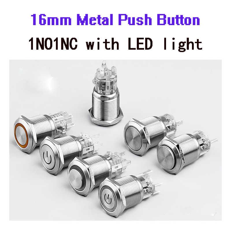 16 мм металлический кнопочный переключатель водостойкий плоский круглая кнопка Светодиодный свет самозамок Кнопка самосброса 1NO1NC Кнопка питания переключатель