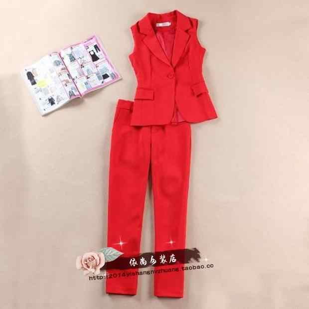 Avrupa ve Amerika Birleşik Devletleri High-end Yeni Moda Ince Zayıflama Kırmızı Takım Elbise Yelek Dokuz Pantolon Takım Elbise Kadın 2 parça Kıyafetler Kadınlar için