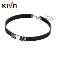 KIVN Fashion Jewelry Pave CZ Cubic Zirconia Black Gothic Leather Collar Choker Necklaces For Women Birthday