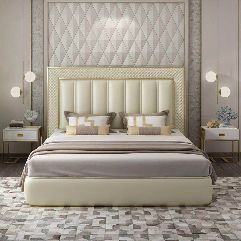 New Design Modern Luxury Adult Leather Bed 150 Or 180 Cm With Storage In Bedroom Sets From