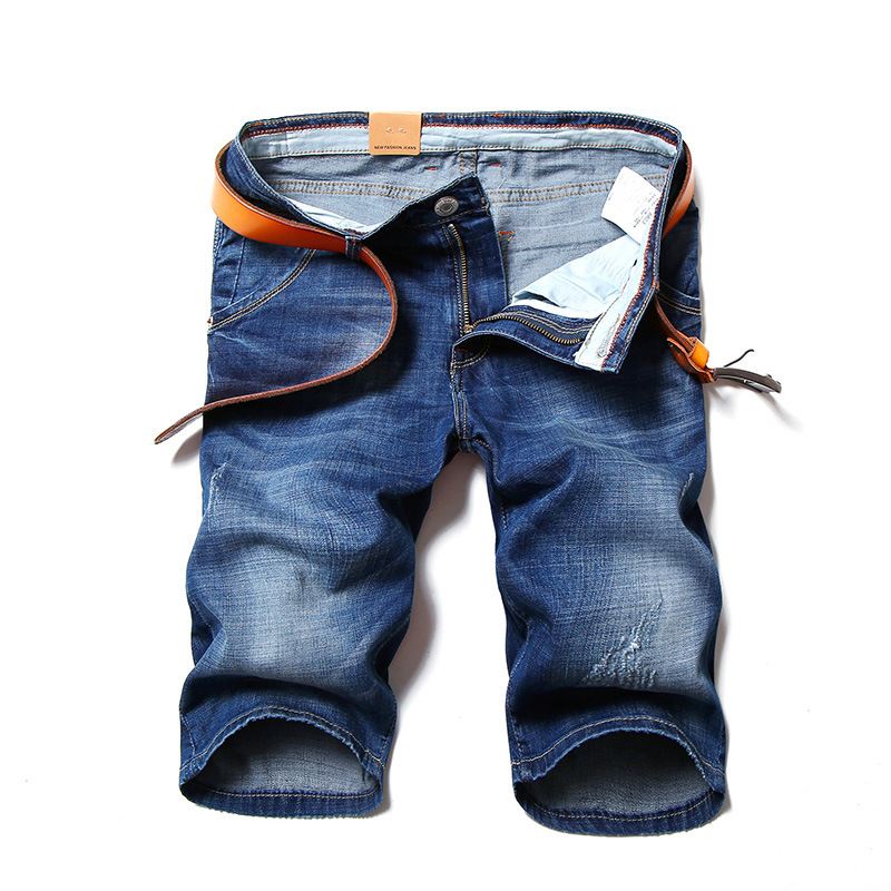 Mens Classic Distressed Short Jeans Brand Clothing Bermuda Summer stretch Cotton Shorts Breathable Denim Shorts Male