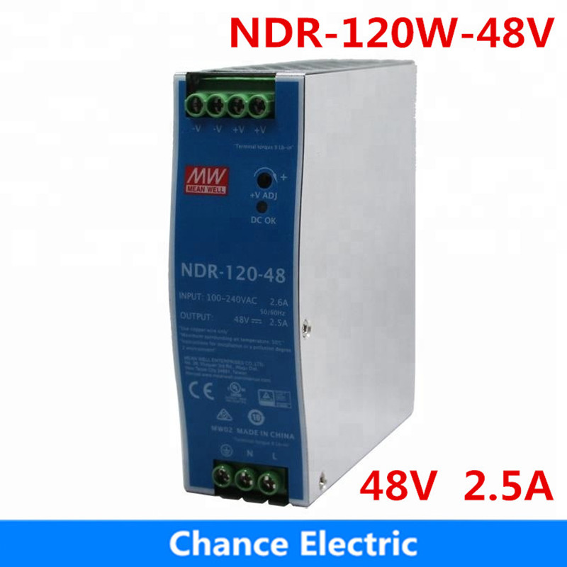 120w 48v 2.5a LED Power Supply Meanwell Single Output NDR-120W-48V CE certificate Din rail type Switching Power Supply