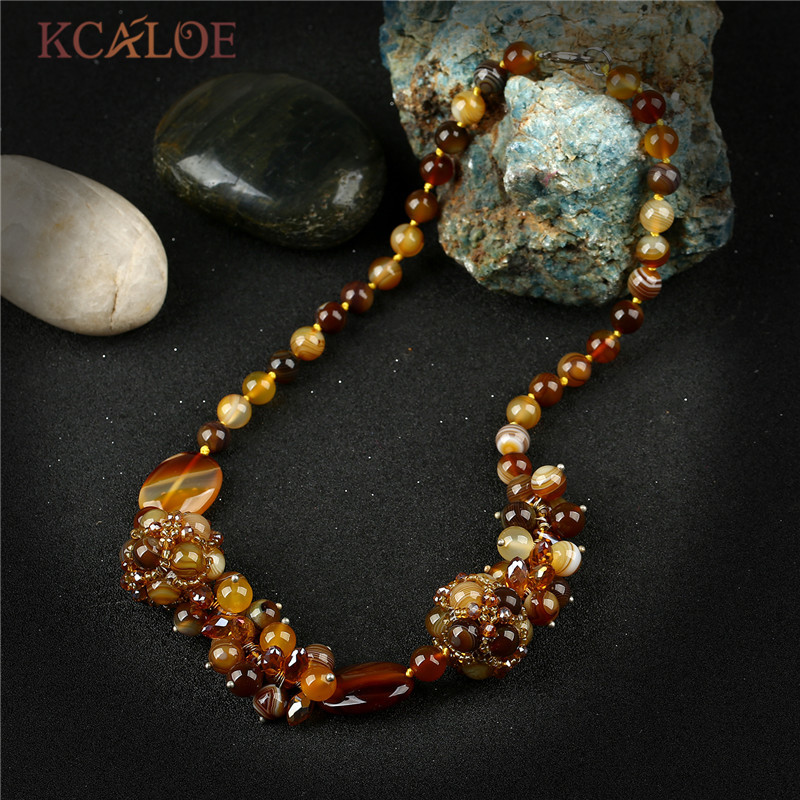 KCALOE Brown Crystal Beads Statement Necklace Natural Onyx Stone Luxury Jewelry Collar Chokers Necklaces For Women Handmade vtf18 4n1212