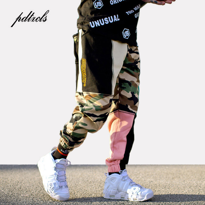 Couleur Bloc Patchwork Camouflage De Mode Jogger pantalons de Survêtement Hommes 2018 Hip Hop Personnels Streetwear Élastique Cargo Style Pantalon Crayon