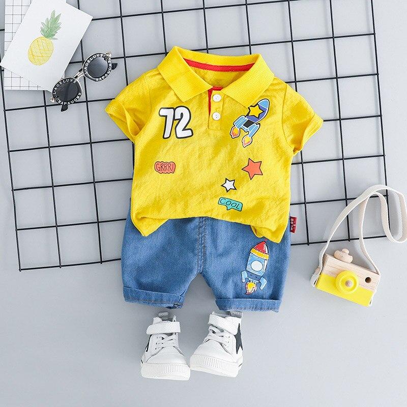 2 Pcs Neugeborenen Baby Boy Sommer Kleidung Cartoon Shirt + Hosen Mädchen Outfit Baumwolle Infant Kleidung Sport Anzüge Trainingsanzug Dropshipping Online Rabatt