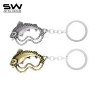 STARWORLD game of throne Hollow zinc alloy key chain 2 colors metal fish key ring Animal fashion fish Pendant for men