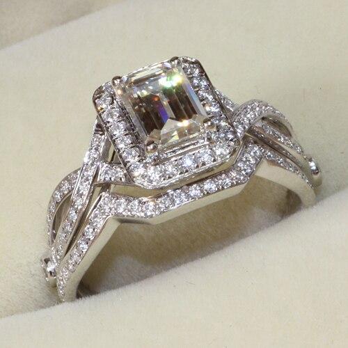 Queen Brilliance 1 Карат Изумруд Вырезать Лаборатория Grown Moissanite Алмаз Halo Обручальное Кольцо Подлинная 14 К 585 Белое Золото