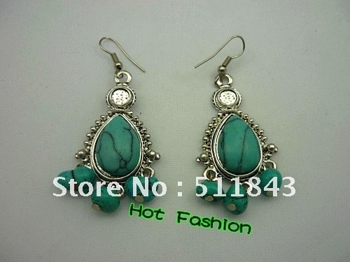 Free Shipping Water Drop  alloy natural turquoise  classic Ms. earrings Hot Fashion!