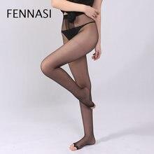 3f9ae83f8 FENNASI Mulheres Ultrafinos Collants Mulheres Do Dedo Do Pé Aberto T virilha  Meia-calça Transparente
