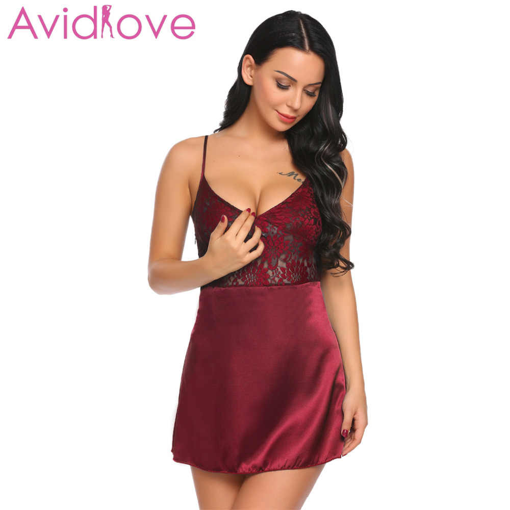 b52cb7afc1a Avidlove Women Night Dress Sleepwear Nighty Nightgown Mini Sexy Lingerie  Set Lace Patchwork Dress
