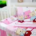 2017 hot cotton cartoon pink baby bedding package, girls baby bedding sheets + quilt + pillowcase,free shipping