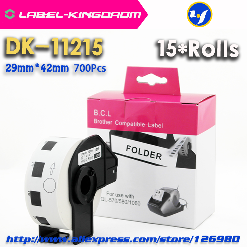 15 Rolls Compatible DK-11215 Label 29mm*42mm Compatible for Brother Label Printer All Come With Plastic Holder 700Pcs/Roll