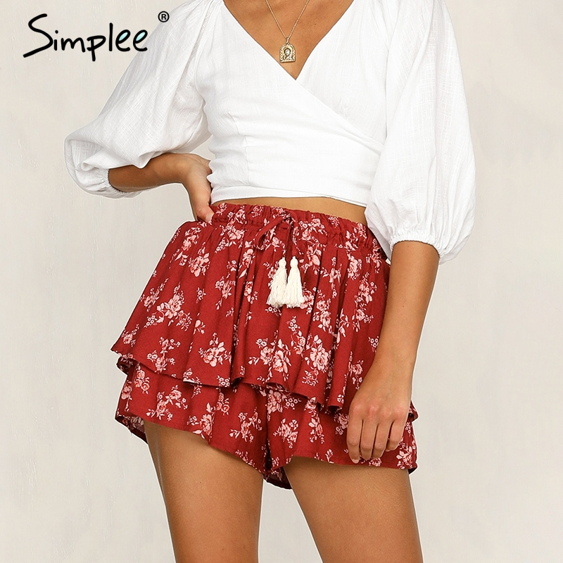 Simplee Ruffle tassel chiffon   shorts   women Floral print beach summer   shorts   female Streetwear elastic hight waist   shorts   2019